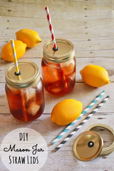 DIY Mason Jar Straw Lids!  Perfect for keeping Bugs OUT of your Beverages this summer!  #DIY #MasonJars #Summer