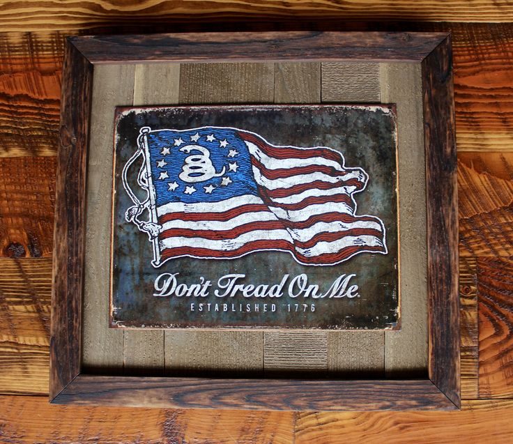 Retro Vintage Tin Sign Reproduction Reclaimed Wood Cedar Framed Rustic Shou Sugi Ban Tongue and Groove Barnwood Gadsden Don't Tread on Me by ElkRidgeFrameandArt on Etsy