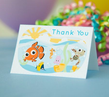 Finding Nemo Printable Thank You Notes. After the baby shower has gone swimmingly, enlist Nemo and friends to help thank all the guests.