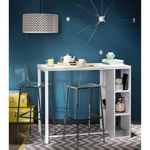 Table de salle à manger haute en bois blanc satiné L 120 cm