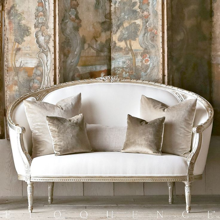 Eloquence Versailles Canape Silver Sofa #French #Style #Loveseat #frenchgardenhousestyle  FREE SHIPPING