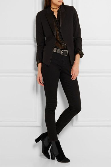 Tabitha Simmons - Micki Nubuck-paneled Velvet Ankle Boots - Black - IT38.5