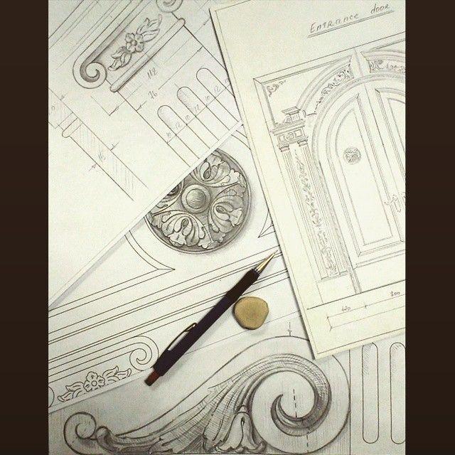 Sketch entrance door details 11 art drawing