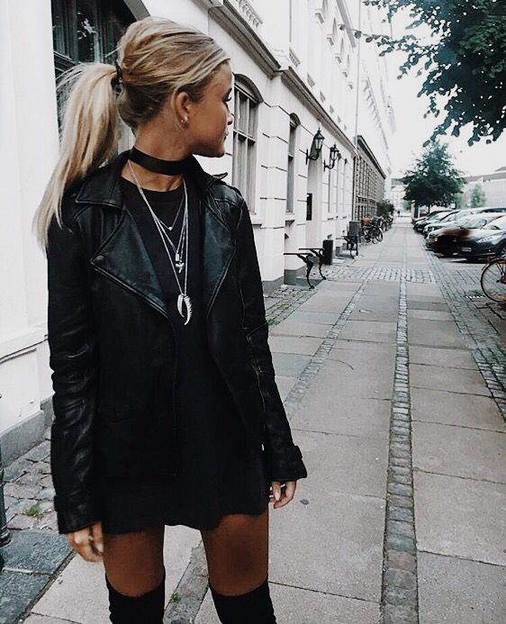all black outfit with leather jacket /pinterest: juliabarefoot