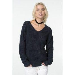 Navy V-neck knit sweater