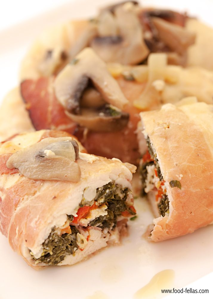 Chicken roulade with spinach and Black Forest ham