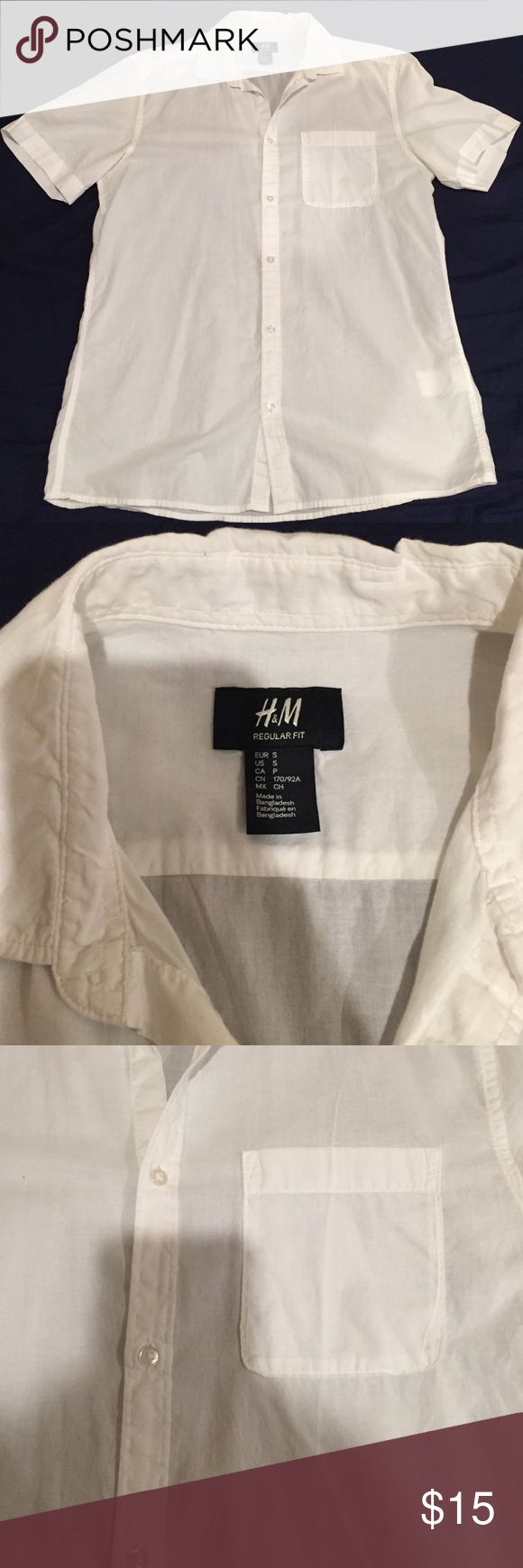 H&M Men's Regular Fit white button down H&M Men's Regular Fit white button down H&M Shirts Casual Button Down Shirts