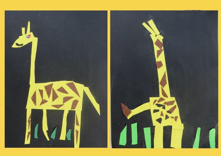 Giraffen knippen en plakken met kleuters, thema dierentuin, kleuteridee.nl…