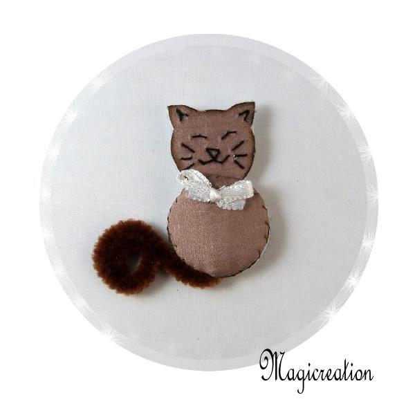 MAGNET CHAT SOIE TAUPE MONSIEUR - Boutique www.magicreation.fr