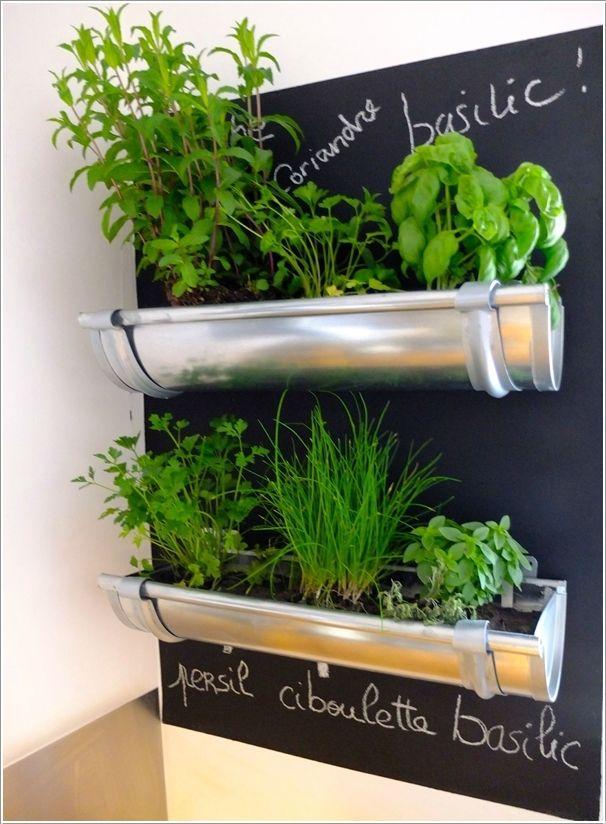 herb garden..rain gutters..chalk board