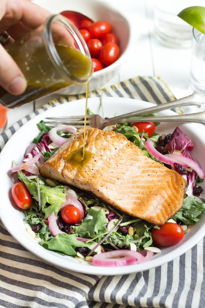 Summer Salmon Salad with Basil Vinaigrette | wickedspatula.com