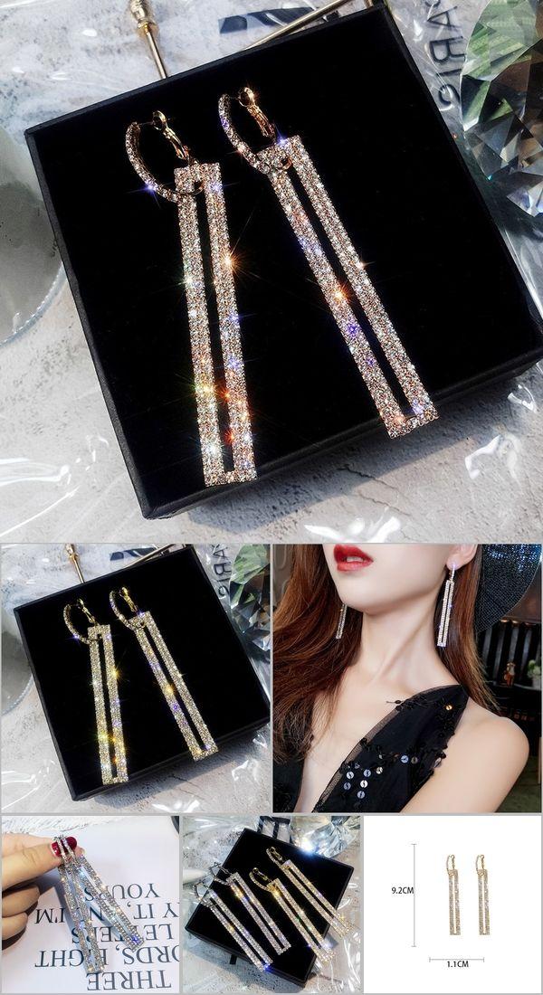 20607fb02 FYUAN Fashion Long Geometric Drop Earrings Luxury Gold Silver Color  Rectangle Rhinestone Earring for Women Party
