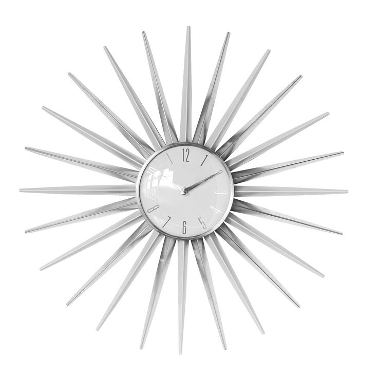 Premier Housewares Sunburst Wall Clock with White Face | Wayfair UK