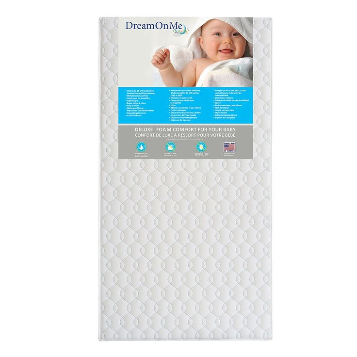 Dream On Me Carousel Full Size Foam Core Crib & Toddler Bed Mattress, White