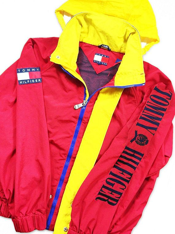 35da3cd8 Tommy Hilfiger Windbreaker jacket Flag Logo Spell Out URBAN 90S VTG Size XXL