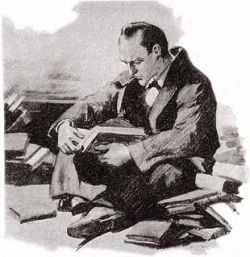 sherlock holmes reads up : sidney paget illustration.