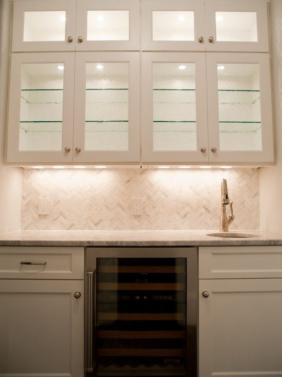 Michelle Winick Design - kitchens - wet bar, bar area, built-in bar, bar, white cabinetry, white recessed cabinetry, brushed nickel hardware...