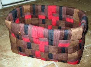 A basket made out of karate belts! I need to remember this! The belts are starting to pile up already.