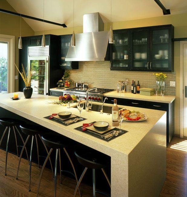 Best Kitchen Interior Design Ideas: Yellow kitchen island, cabinet and bar interior design ideas