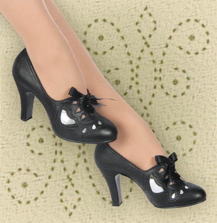 Aris Allen Women's 1930s Black and Silver Lace-up Heeled Oxford Shoes, dancestore.com - 2