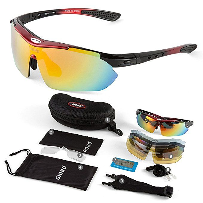 da1b12f2e4 GIORO Polarized Sports Sunglasses with 5 Interchangeable Lenses for Cycling  Fishing Driving(Red)
