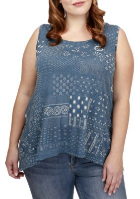Lucky Brand Women's Plus Size Boho Patchwork Printed Tank - Blue Multi - 2X