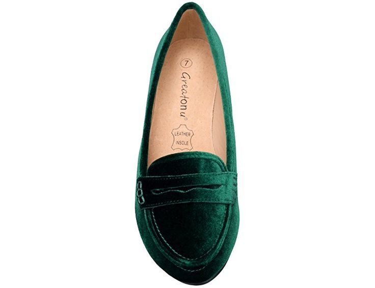 Greatonu Women's Pointed Toe Velvet Green Faux Suede Ballet Flat Loafer Shoes Size 10