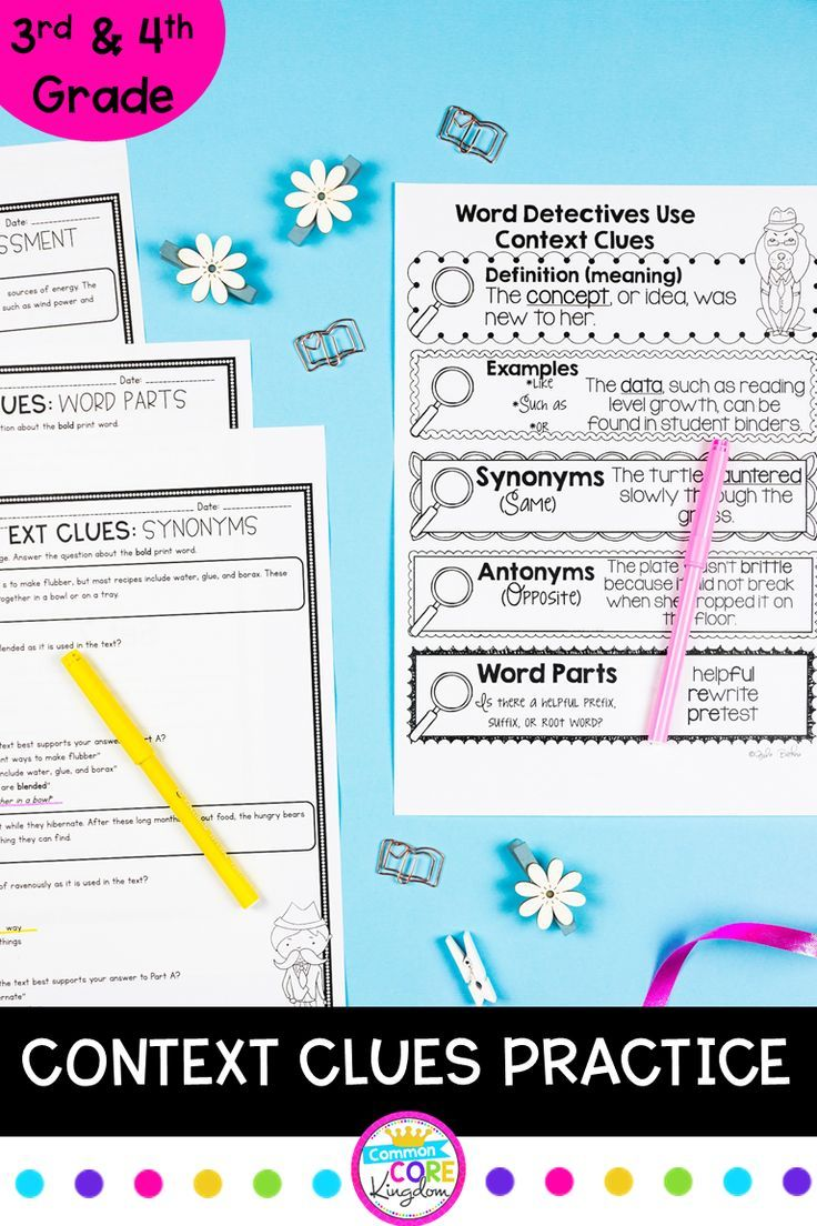 Context Clues Targeted Practice 4th and 5th Grade   Context clues [ 1104 x 736 Pixel ]
