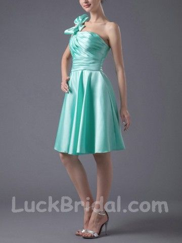 Green One-shoulder Party Dress Satin Cocktail Dress at $50.99
