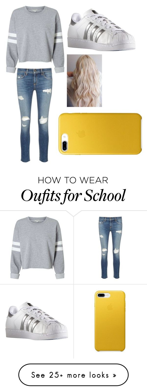 """""""School #1"""" by phoperowland on Polyvore featuring rag & bone/JEAN and adidas"""