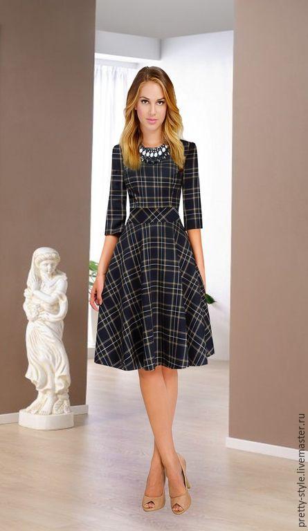 Купить Платье в клеточку из плотной вискозы PS - 06 - разноцветный, в клеточку, платье