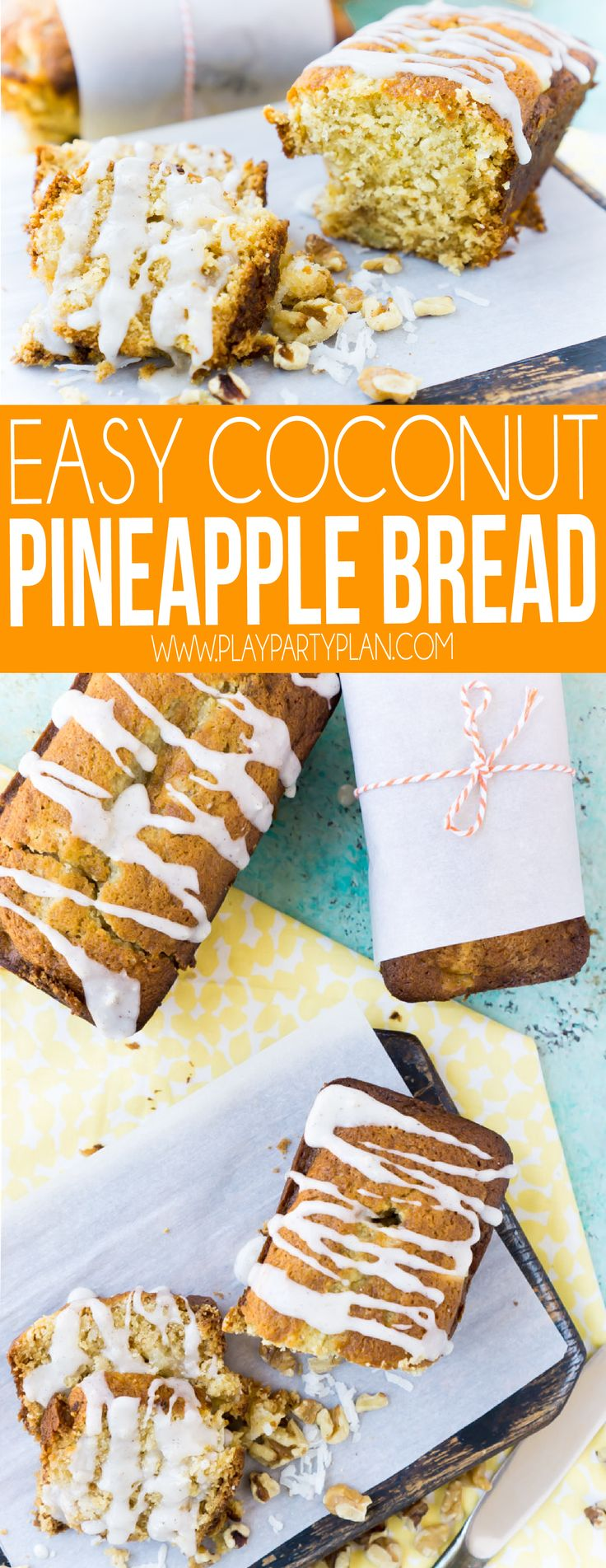An easy Hawaiian pineapple bread recipe with a healthy twist! It's one of the most moist and delicious coconut pineapple bread recipes you're ever try! #bread #breadrecipe #breakfastrecipes #breakfast #collagen #sponsored