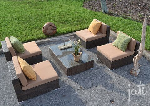 Marvelous Synthetic Wicker Sectional Set 5 PCS   Outdoor Furniture   Wicker Furniture  U2013 Jati Furniture Outlet