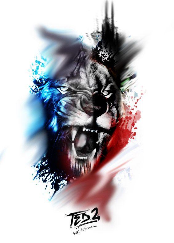 Lion Tattoo, tattoo template, tattoo design, trash polka tattoo, trash lion, lion tattoo, lion, splatter lion, surf ink tattoo, ted2, ted bartnik, lion template, …