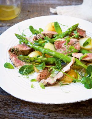Lamb, asparagus and mint salad by Si and Dave, aka The Hairy Bikers.   Try this dish when you get your family and friends together for a Great British Sunday Lunch and raise money to support the RAF family.  Request your free Sunday lunch kit today — packed with hints, tips and inspiration to help you enjoy your Great British Sunday Lunch!  1000s have already signed up to do theirs on Sunday 2nd April.