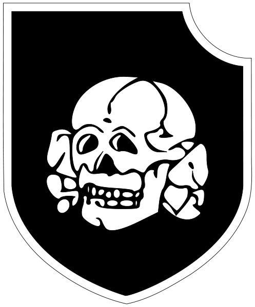 """3ª División Panzer SS """"Totenkopf""""  Tiene su origen en las unidades creadas para la custodia de los campos de concentración, las SS-Totenkopfstandarten """"Regimientos SS de la calavera"""" - Totenkopf significa """"calavera"""" en alemán -) después de que el control de dichos campos hubiese pasado de los regimientos de las SA a las SS en 1934."""