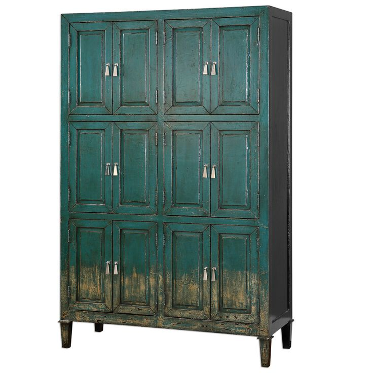 Aged Teal Storage Cabinet - French Country