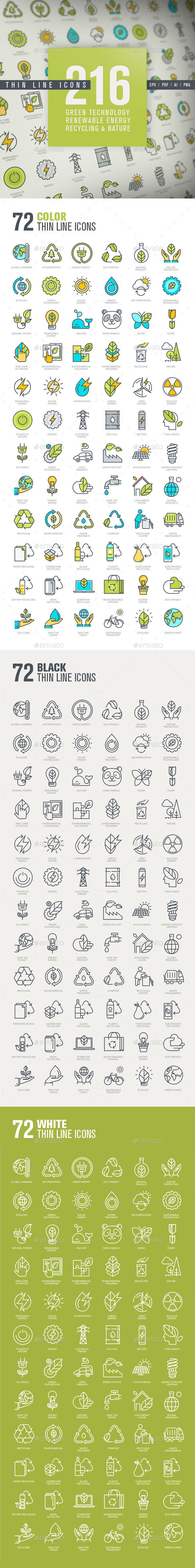 Set of Thin Line Icons for Green Technology — Vector EPS #recycling #animal • Available here → graphicriver.net/…