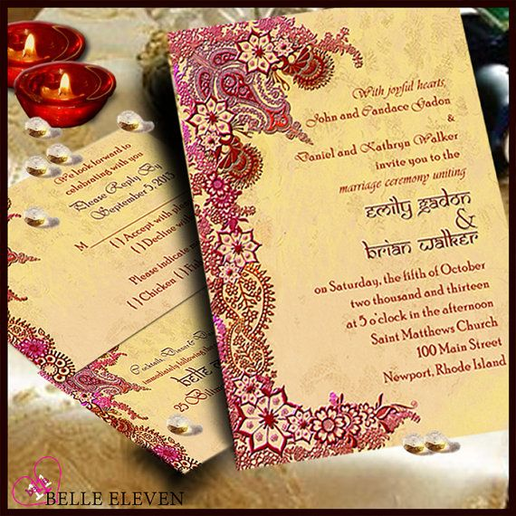 DIY Printable Wedding Invitation, RSVP, Reception Card, Indian/Bollywood Maroon & Gold Inspired on Etsy, $10.00