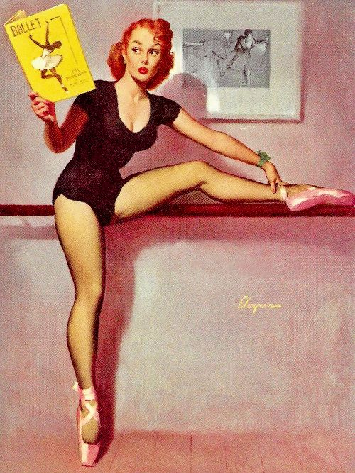 """vintagegal: """"Perfect Form"""" by Gil Elvgren, 1953 – http://thepinuppodcast.com  re-pinned this because we are trying to make the pinup community a little bit better."""