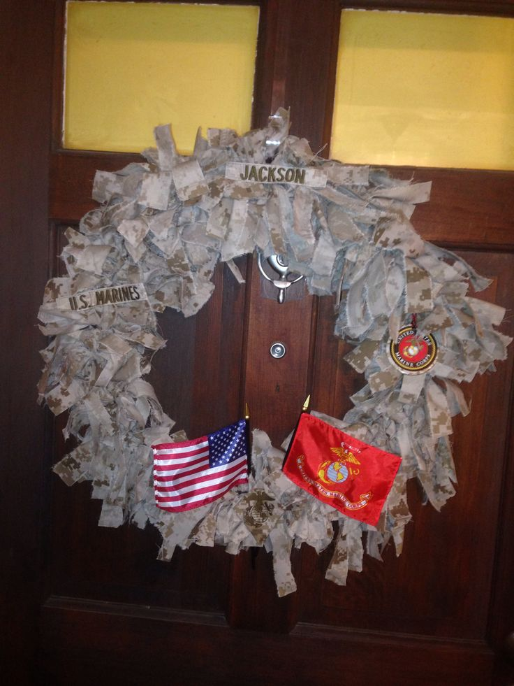 Marine cammies made into a wreath!!! Thanks southern freyed creations for making it for my future mother in law!!!!