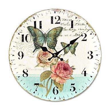 Country Floral Wall Clock - USD $ 32.99