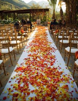 A mixture of rust, yellow and orange rose petals against an ivory cloth runner creates a stunning pathway to a chuppah, The Hidden Garden Floral Design.