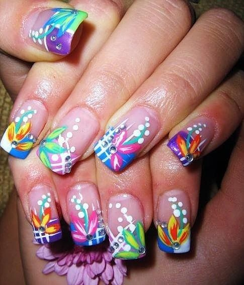 Wild French Tip Nail Designs: Gorgeous Bright, Multi-color, Nails With Blue & White