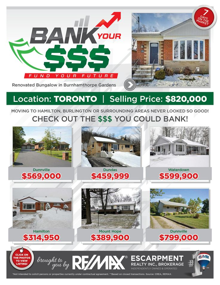 Bank Your $$$: FUND YOUR FUTURE   Do you enjoy saving money? Perhaps leaving the GTA and moving to the Hamilton/Burlington or a Surrounding Area is just the opportunity for you and your family!   Check out some of our current listings to see the comparison and the $$$ you could BANK!!!   If these homes are NOT in your price range, then check out www.whatchagetfor.com  to find homes within your budget.