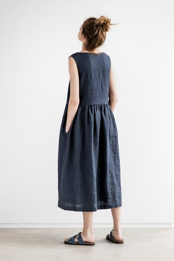 Maxi linen summer dress. Charcoal sleeveless by notPERFECTLINEN