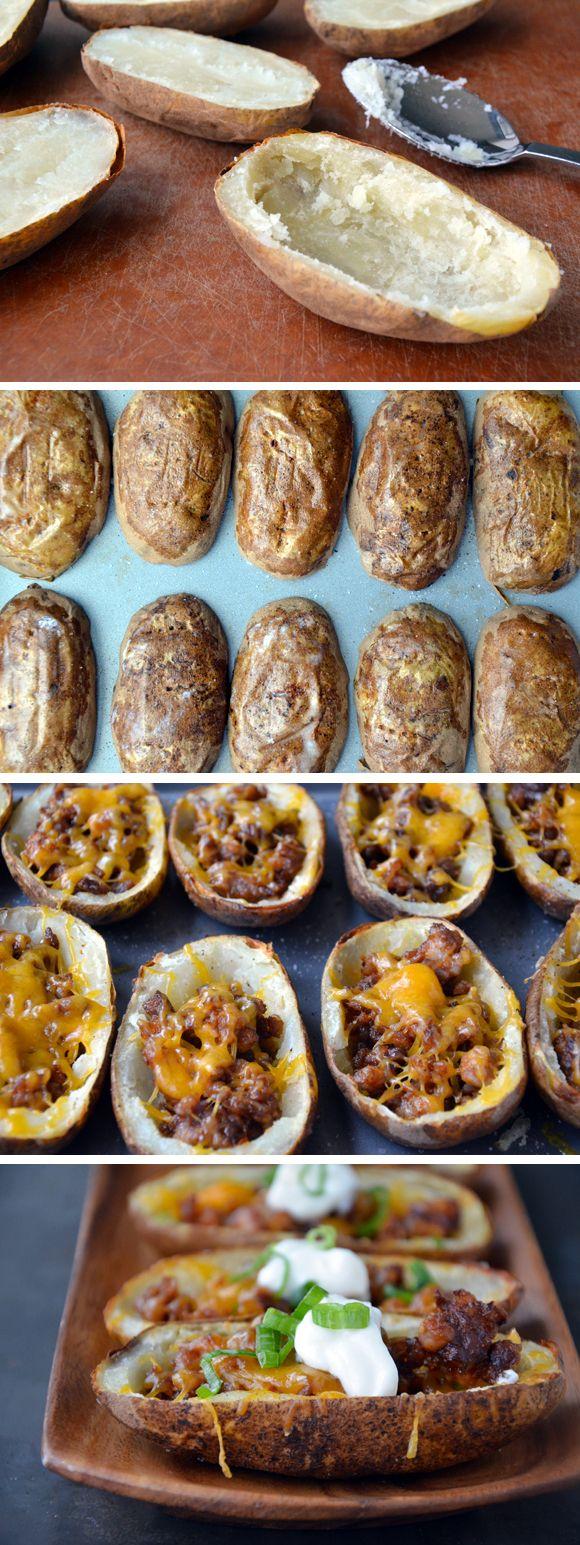 Chorizo and Cheddar Potato Skins from justataste.com #recipe