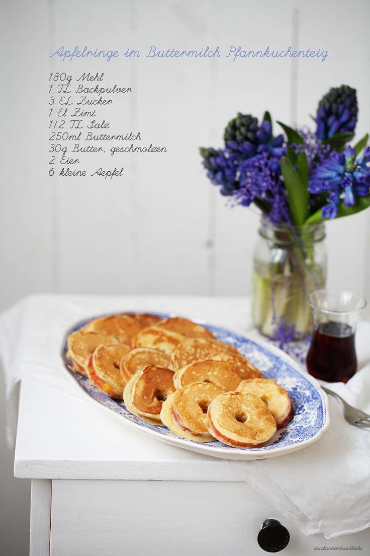 Zuckerzimtundliebe Apfelringe im Pfannkuchenteig Rezept Pancake Apple Rings