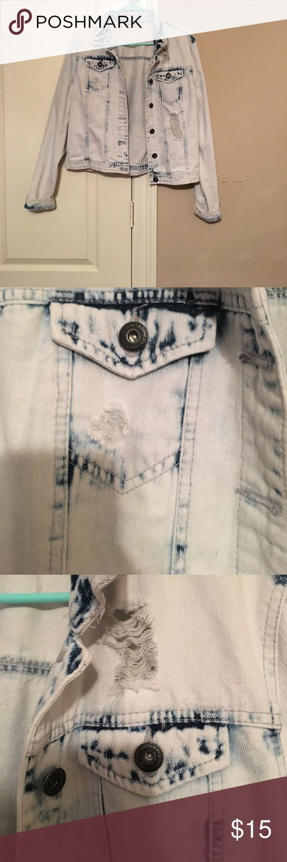 Acid Washed Jean Jacket Minimal wear . Great condition . Runs a bit small , size Large fits more like a Medium Highway Jeans Jackets & Coats Jean Jackets