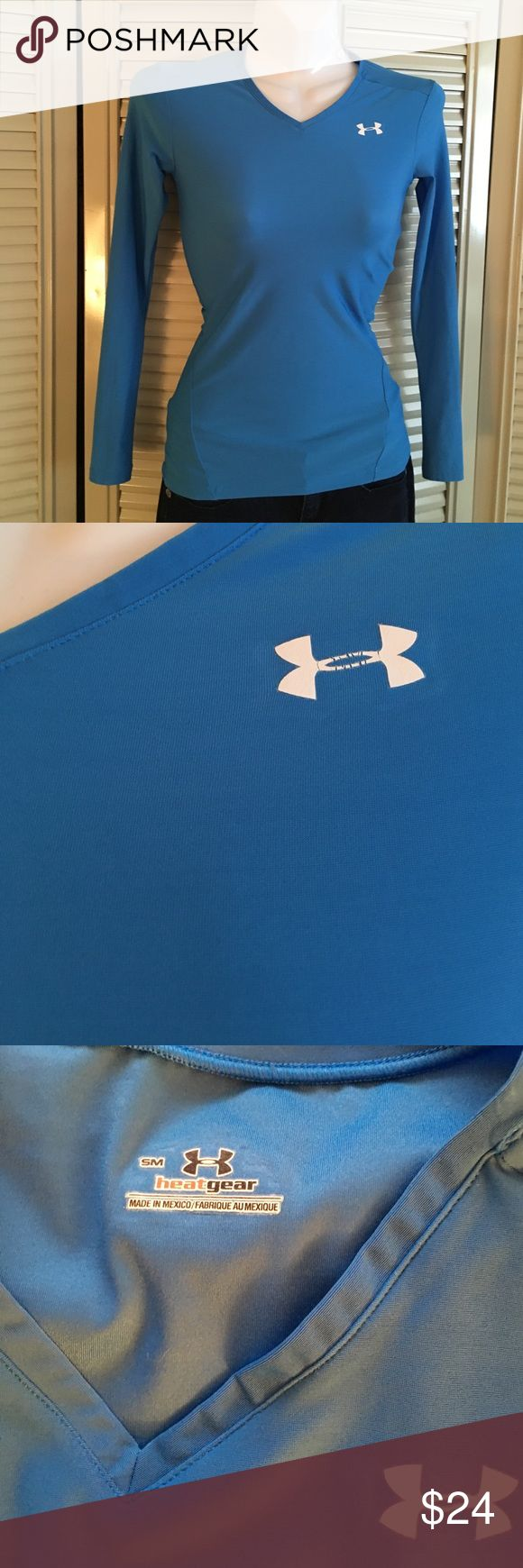 Under amour heat gear - size small Under Armour heat gear compression top. Moisture wicking. Very nice blue color. Under Armour Tops